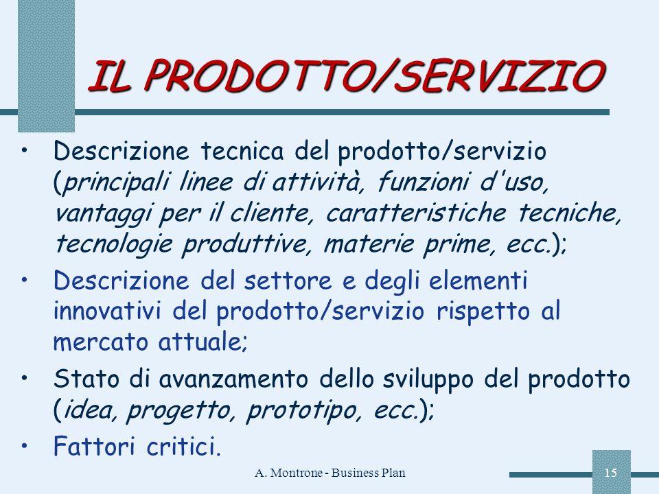 A. Montrone - Business Plan15 IL PRODOTTO/SERVIZIO Descrizione tecnica del prodotto/servizio (principali linee di attività, funzioni d'uso, vantaggi p