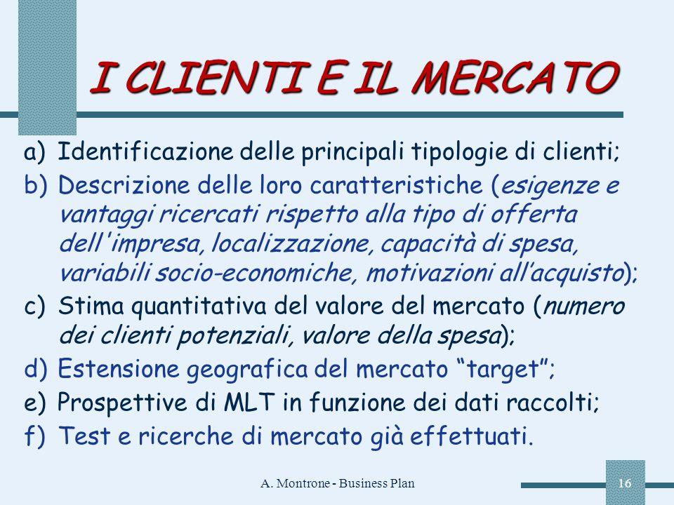 A. Montrone - Business Plan16 I CLIENTI E IL MERCATO a)Identificazione delle principali tipologie di clienti; b)Descrizione delle loro caratteristiche