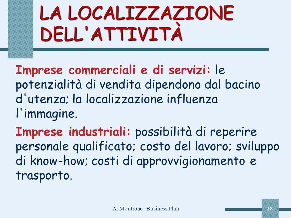 A. Montrone - Business Plan18 LA LOCALIZZAZIONE DELL'ATTIVITÀ Imprese commerciali e di servizi: le potenzialità di vendita dipendono dal bacino d'uten