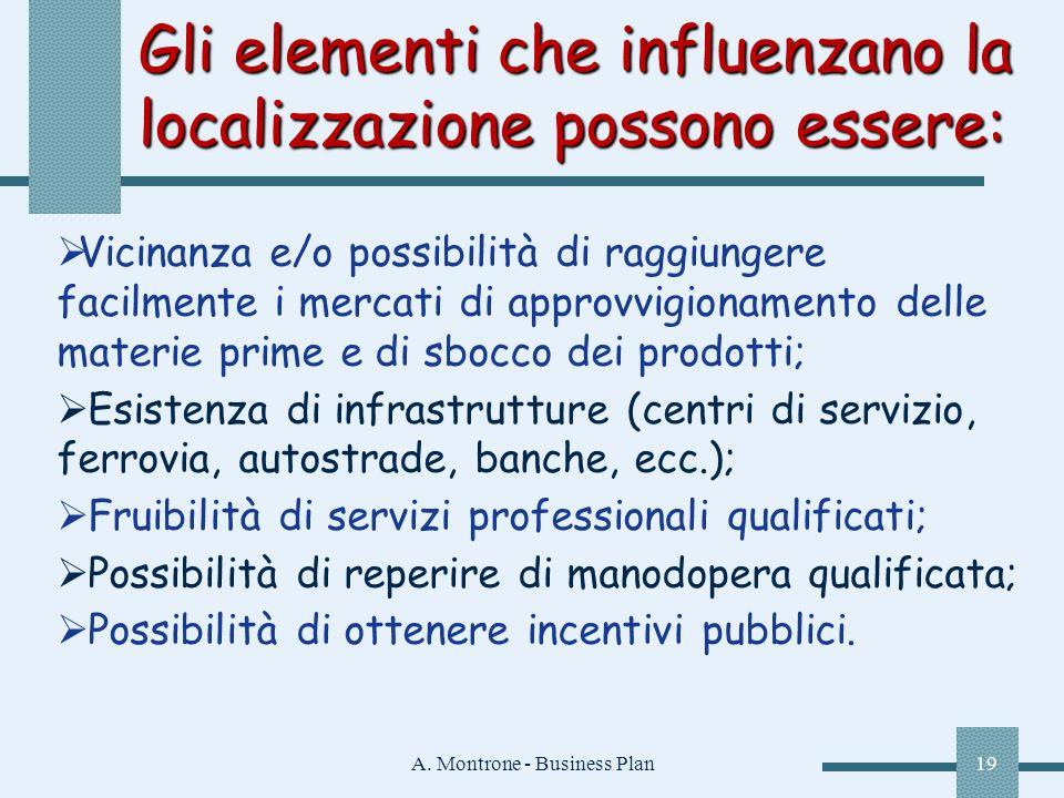 A. Montrone - Business Plan19 Gli elementi che influenzano la localizzazione possono essere: Vicinanza e/o possibilità di raggiungere facilmente i mer