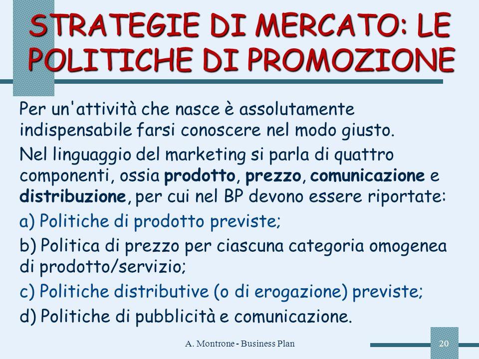 A. Montrone - Business Plan20 STRATEGIE DI MERCATO: LE POLITICHE DI PROMOZIONE Per un'attività che nasce è assolutamente indispensabile farsi conoscer