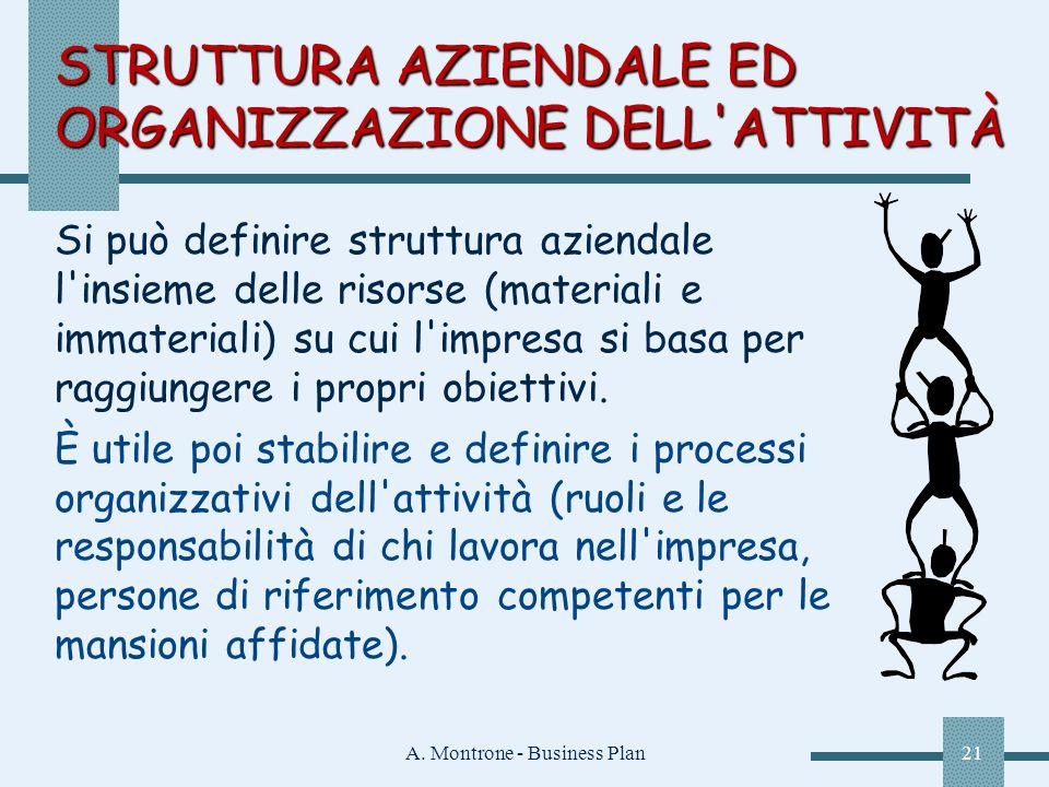 A. Montrone - Business Plan21 STRUTTURA AZIENDALE ED ORGANIZZAZIONE DELL'ATTIVITÀ Si può definire struttura aziendale l'insieme delle risorse (materia