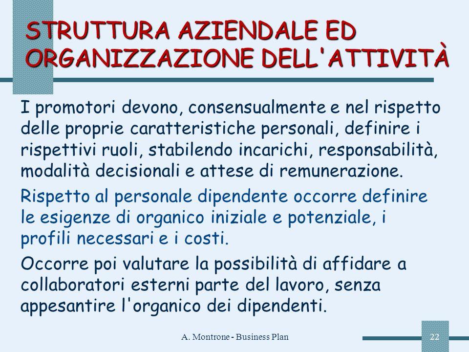 A. Montrone - Business Plan22 I promotori devono, consensualmente e nel rispetto delle proprie caratteristiche personali, definire i rispettivi ruoli,