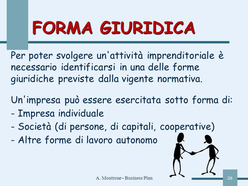 A. Montrone - Business Plan26 FORMA GIURIDICA Per poter svolgere un'attività imprenditoriale è necessario identificarsi in una delle forme giuridiche