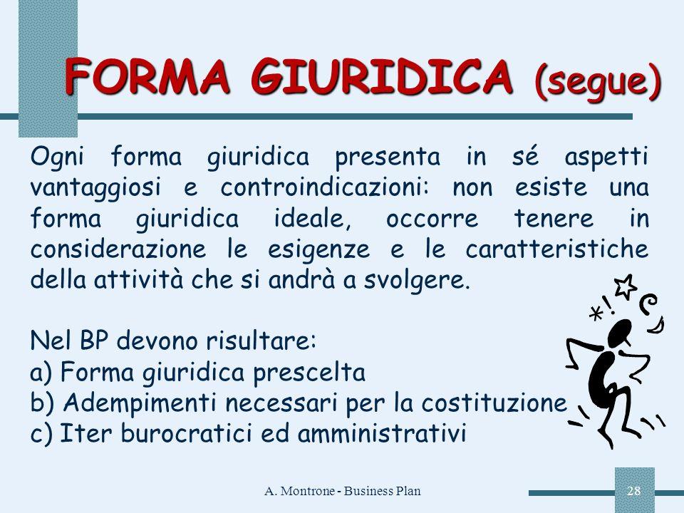 A. Montrone - Business Plan28 FORMA GIURIDICA (segue) Ogni forma giuridica presenta in sé aspetti vantaggiosi e controindicazioni: non esiste una form