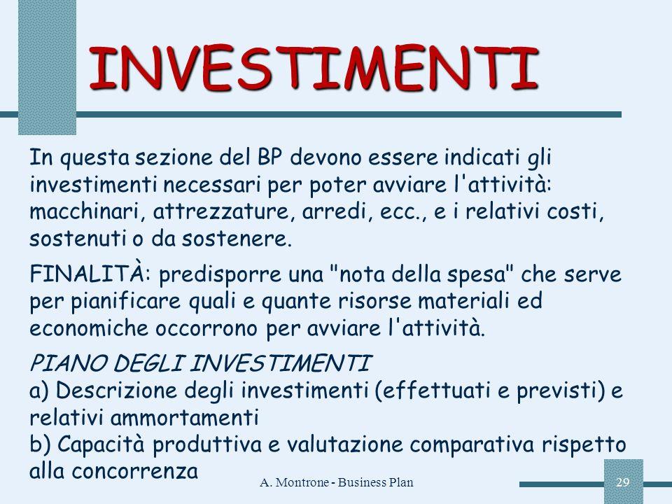 A. Montrone - Business Plan29 INVESTIMENTI In questa sezione del BP devono essere indicati gli investimenti necessari per poter avviare l'attività: ma