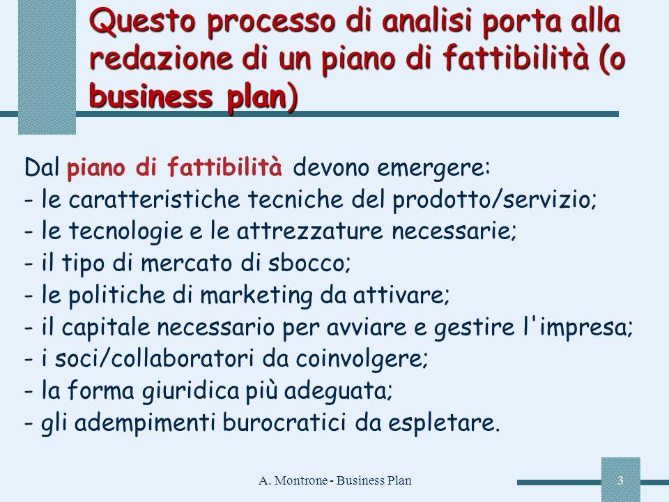 A. Montrone - Business Plan3 Questo processo di analisi porta alla redazione di un piano di fattibilità (o business plan) Dal piano di fattibilità dev
