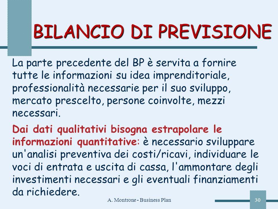 A. Montrone - Business Plan30 BILANCIO DI PREVISIONE La parte precedente del BP è servita a fornire tutte le informazioni su idea imprenditoriale, pro