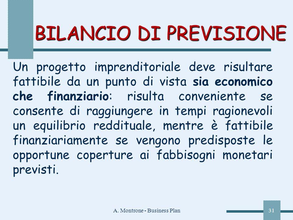 A. Montrone - Business Plan31 BILANCIO DI PREVISIONE Un progetto imprenditoriale deve risultare fattibile da un punto di vista sia economico che finan