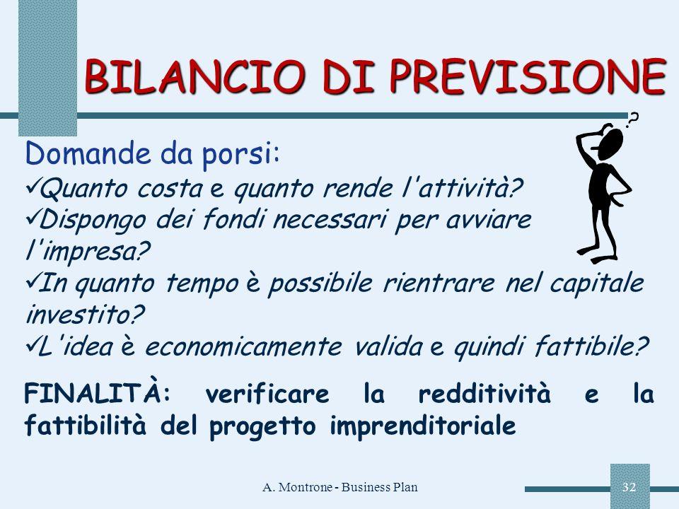 A. Montrone - Business Plan32 BILANCIO DI PREVISIONE Domande da porsi: Quanto costa e quanto rende l'attività? Dispongo dei fondi necessari per avviar