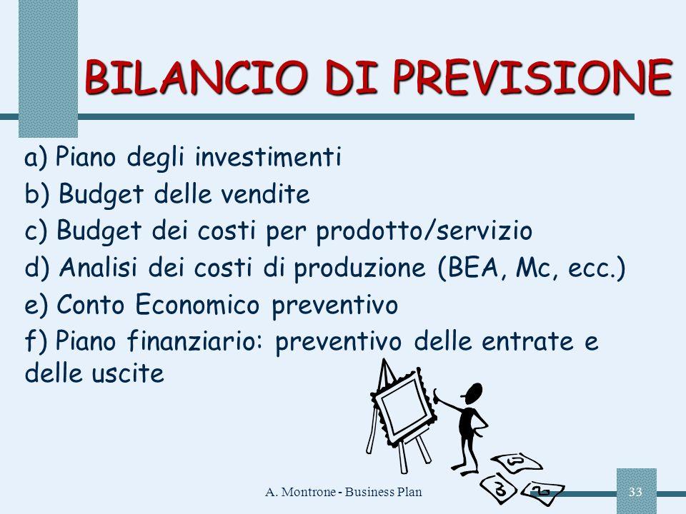 A. Montrone - Business Plan33 BILANCIO DI PREVISIONE a) Piano degli investimenti b) Budget delle vendite c) Budget dei costi per prodotto/servizio d)