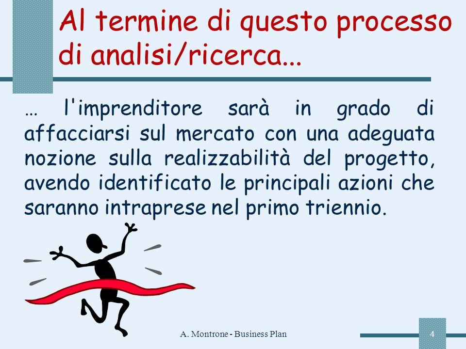 A. Montrone - Business Plan4 Al termine di questo processo di analisi/ricerca... … l'imprenditore sarà in grado di affacciarsi sul mercato con una ade