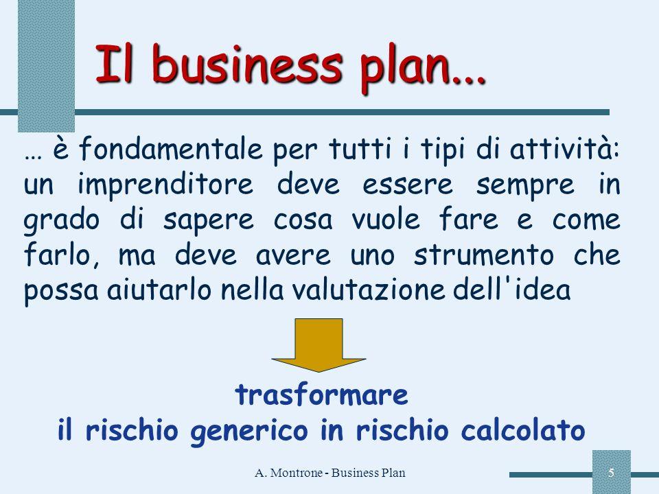 A. Montrone - Business Plan5 Il business plan... Il business plan... … è fondamentale per tutti i tipi di attività: un imprenditore deve essere sempre