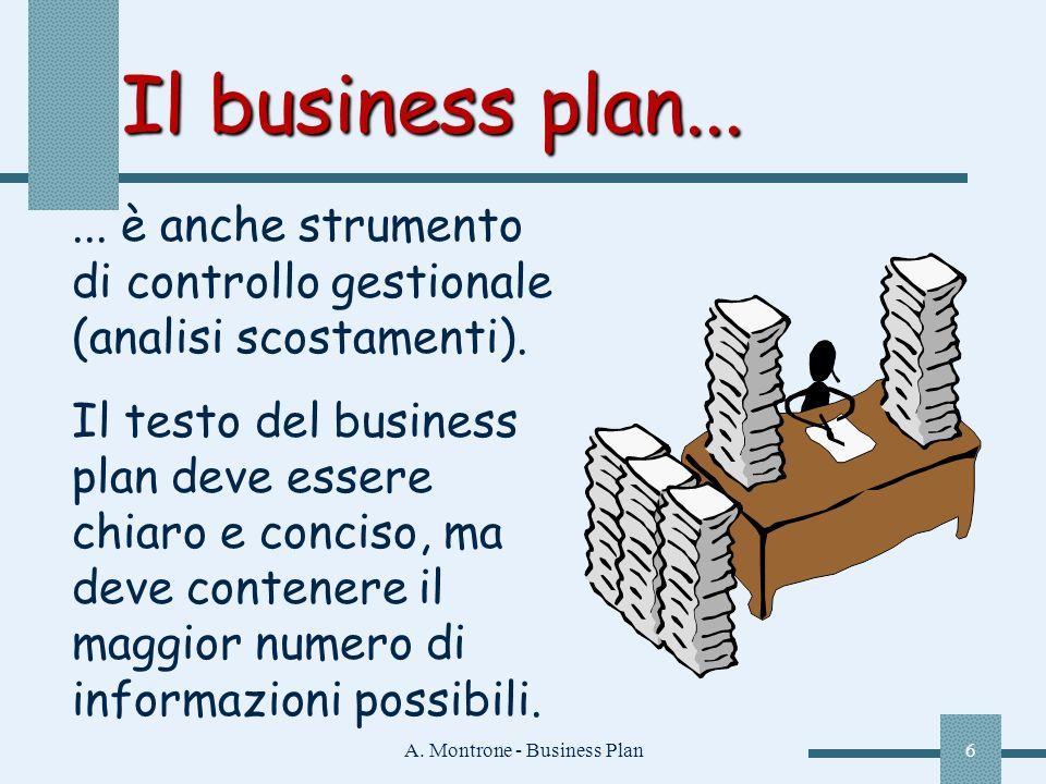A. Montrone - Business Plan6 Il business plan...... è anche strumento di controllo gestionale (analisi scostamenti). Il testo del business plan deve e