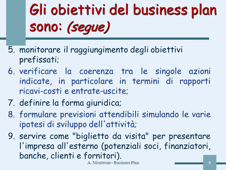 A. Montrone - Business Plan8 Gli obiettivi del business plan sono: (segue) 5.monitorare il raggiungimento degli obiettivi prefissati; 6.verificare la