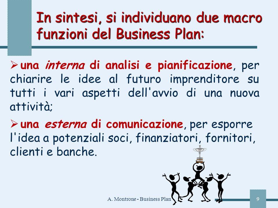 A. Montrone - Business Plan9 In sintesi, si individuano due macro funzioni del Business Plan: una interna di analisi e pianificazione, per chiarire le