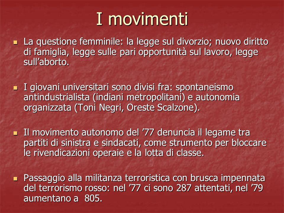 I movimenti La questione femminile: la legge sul divorzio; nuovo diritto di famiglia, legge sulle pari opportunità sul lavoro, legge sullaborto. La qu