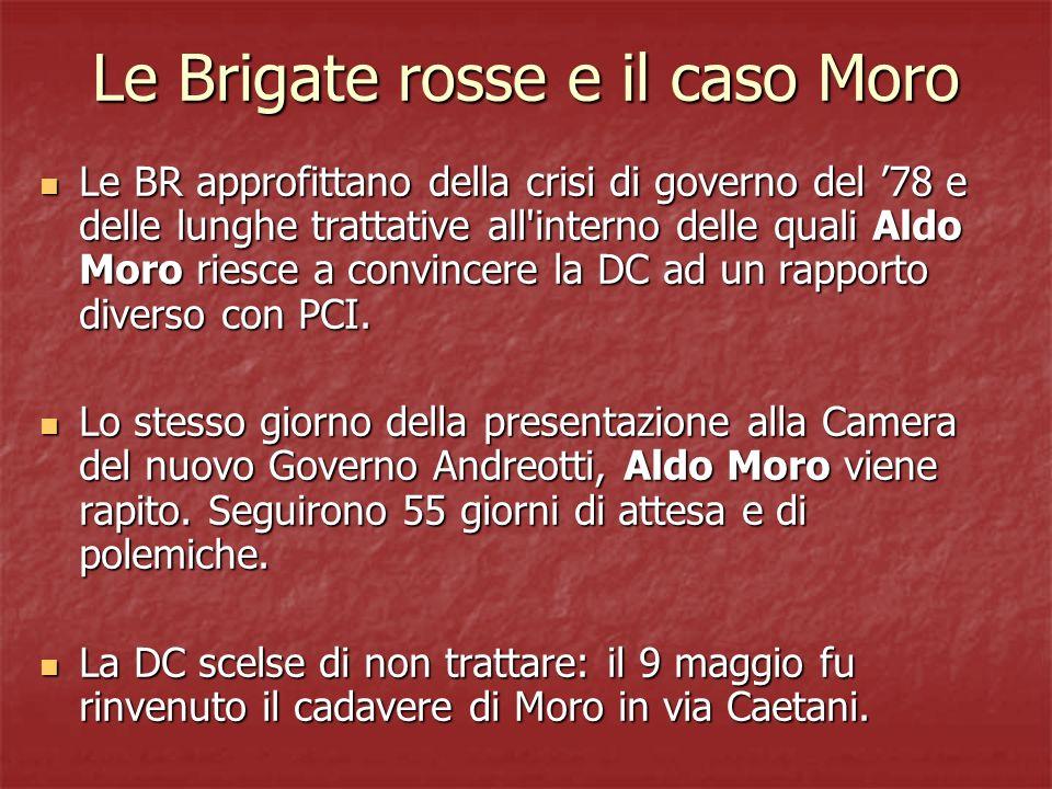 Le Brigate rosse e il caso Moro Le BR approfittano della crisi di governo del 78 e delle lunghe trattative all'interno delle quali Aldo Moro riesce a