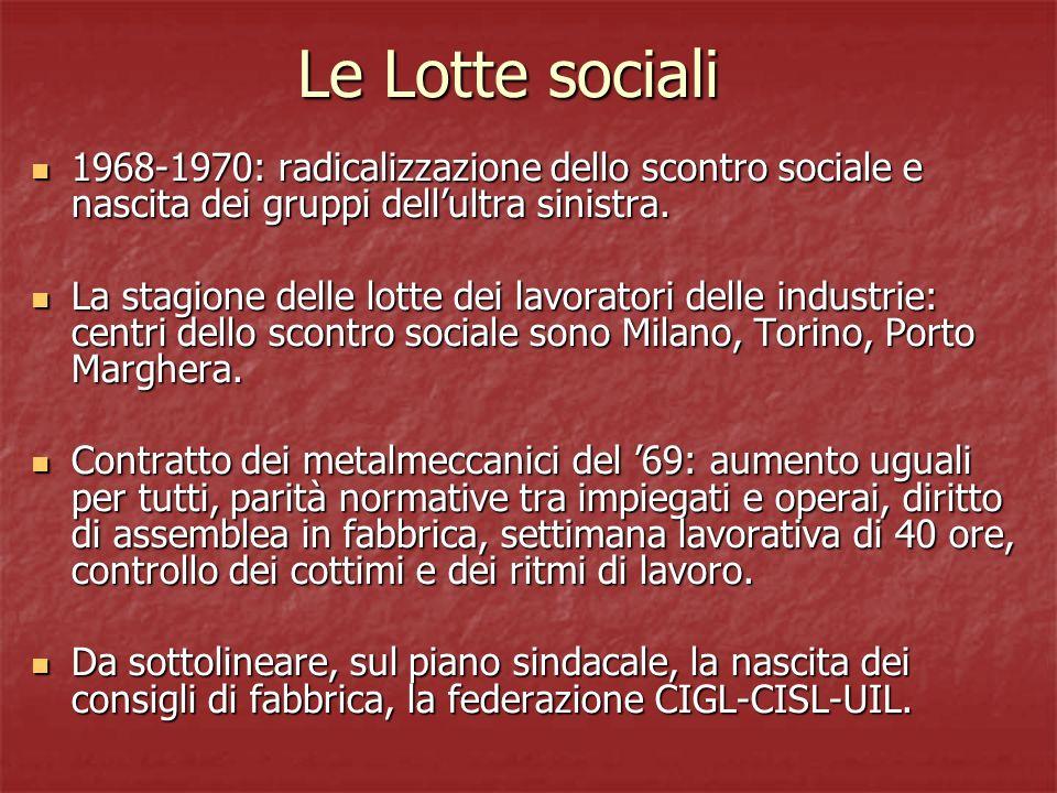 La strategia della tensione 12 dicembre 69: bomba a Piazza Fontana (Milano), 16 morti e 88 feriti.