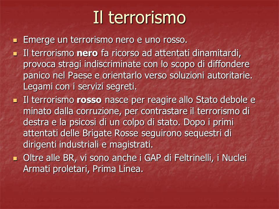 Il terrorismo Emerge un terrorismo nero e uno rosso. Emerge un terrorismo nero e uno rosso. Il terrorismo nero fa ricorso ad attentati dinamitardi, pr