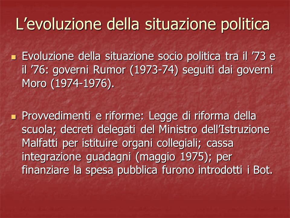 Levoluzione della situazione politica Evoluzione della situazione socio politica tra il 73 e il 76: governi Rumor (1973-74) seguiti dai governi Moro (