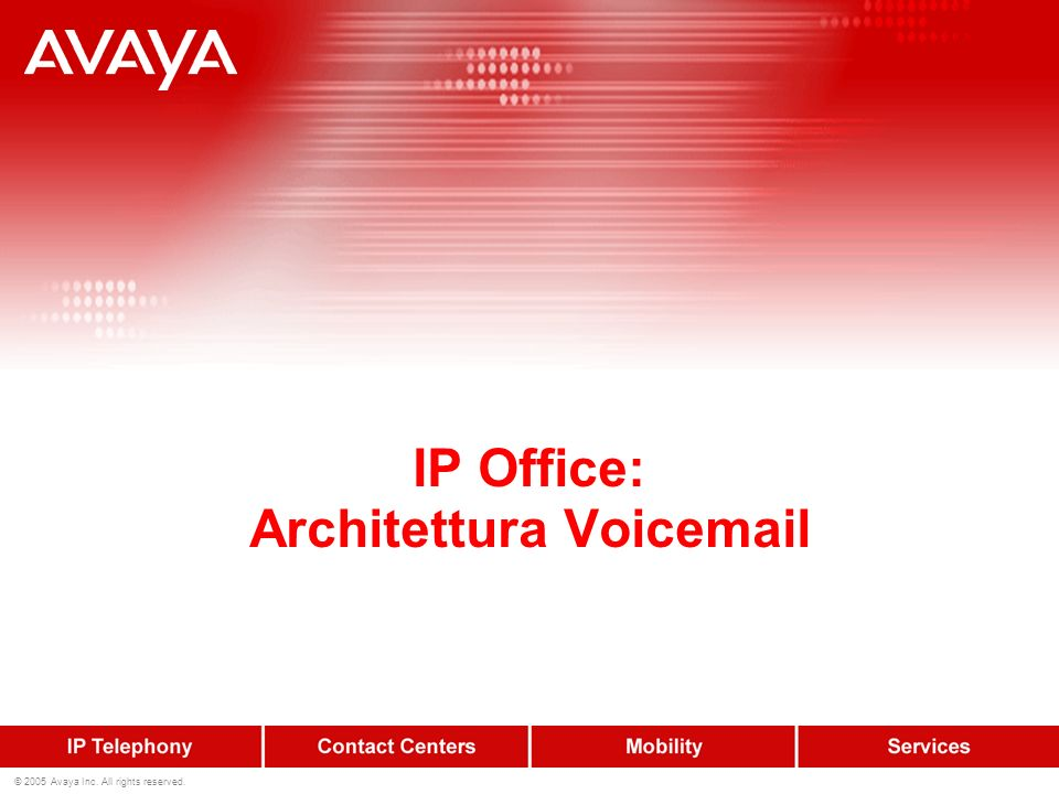 © 2005 Avaya Inc. All rights reserved. IP Office: Architettura Voicemail