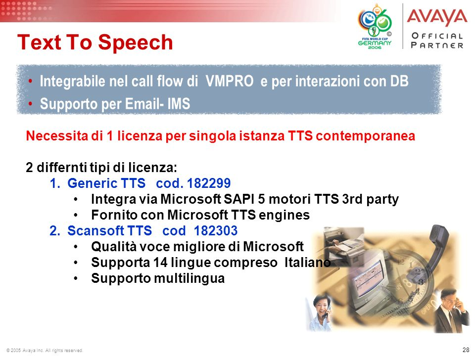 27 © 2005 Avaya Inc. All rights reserved. Unified Messaging Produttività personale –Gestione Voice Email –Lettura delle Email –Supporto Fax server –Ri