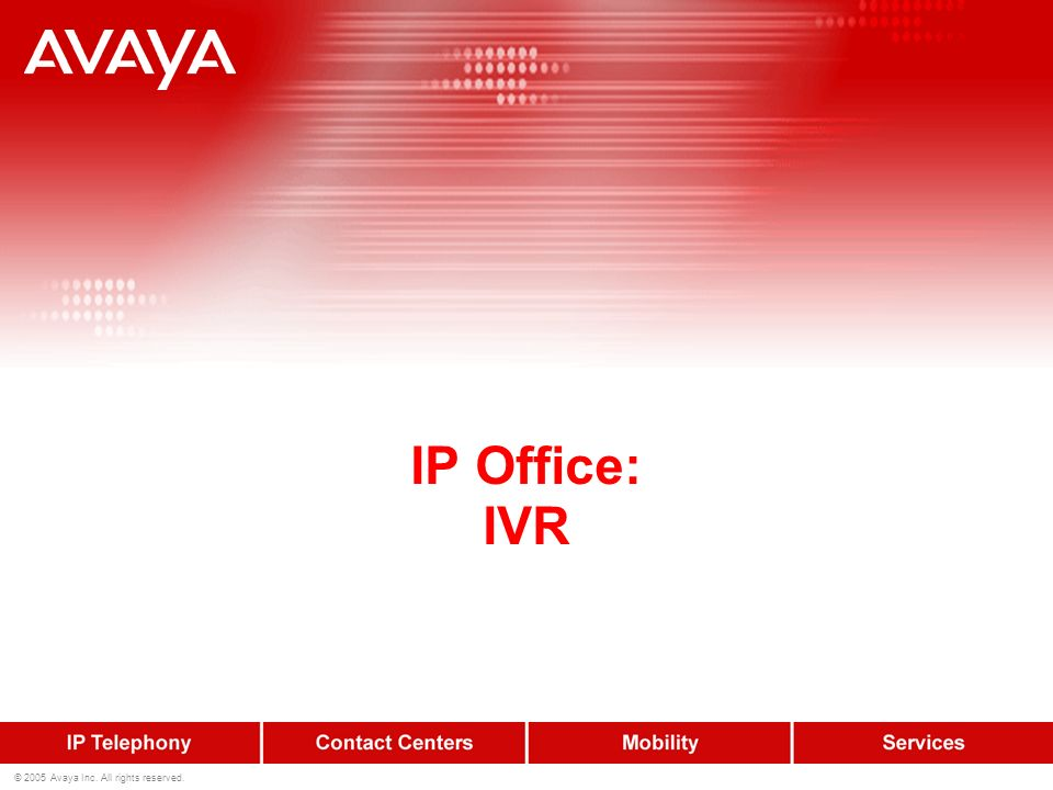 28 © 2005 Avaya Inc.All rights reserved.