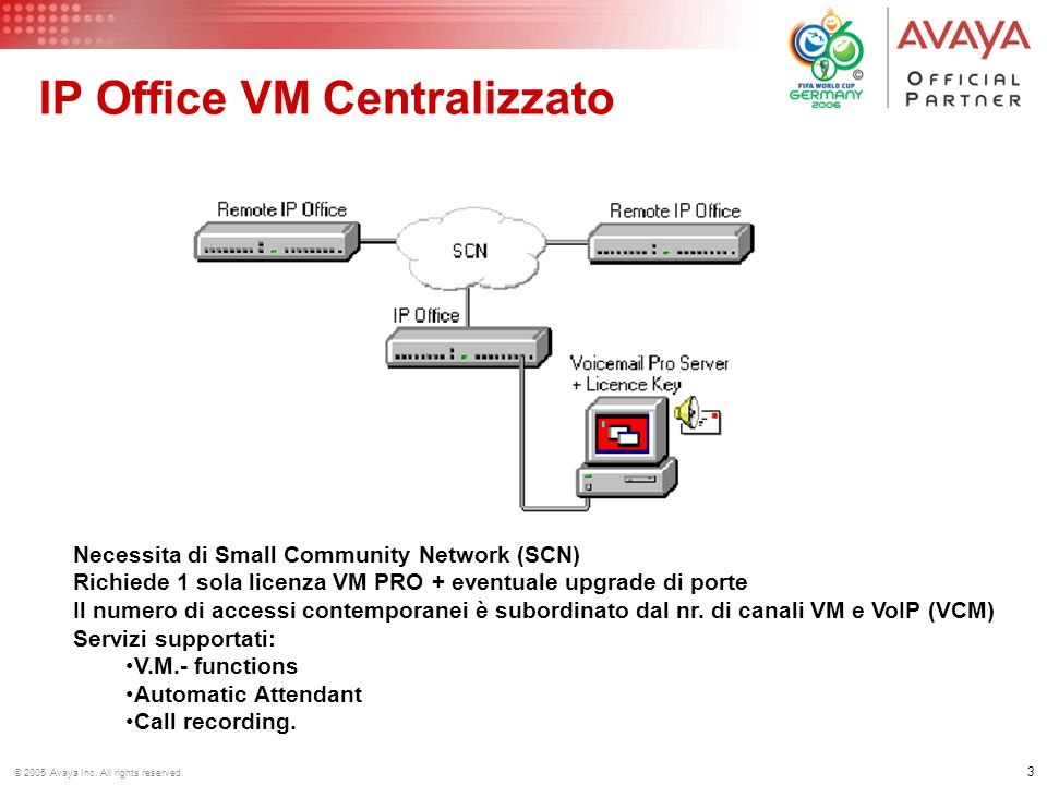 2 © 2005 Avaya Inc. All rights reserved. VM PRO/LITE - Risorse SCN Server VM PRO IP PHONES Accessi al VM da Linee, utenti analogici e digitali : utili