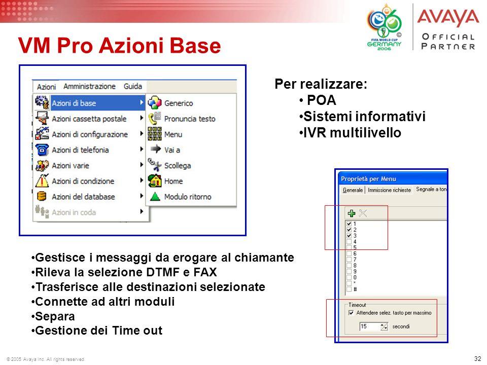 31 © 2005 Avaya Inc. All rights reserved. IP Office Messaging Pro Auto Attendant con: Scelta della lingua Riconoscimento DTMF Accesso a DB per validaz