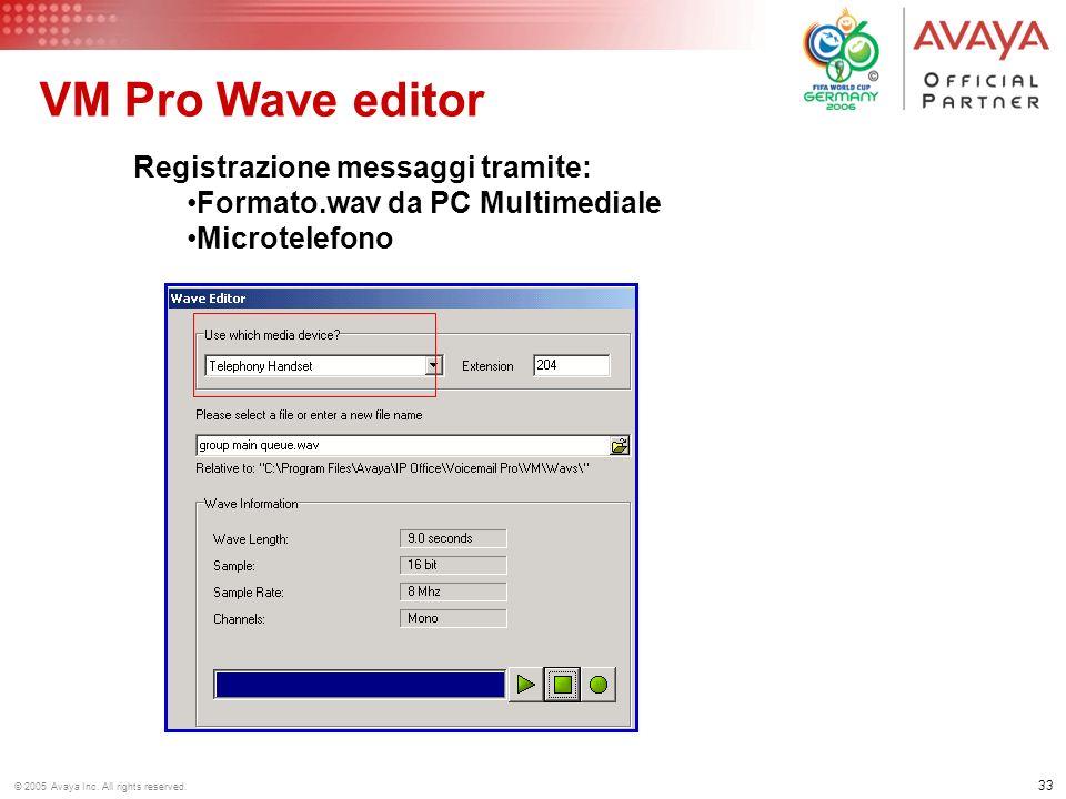 32 © 2005 Avaya Inc. All rights reserved. VM Pro Azioni Base Gestisce i messaggi da erogare al chiamante Rileva la selezione DTMF e FAX Trasferisce al