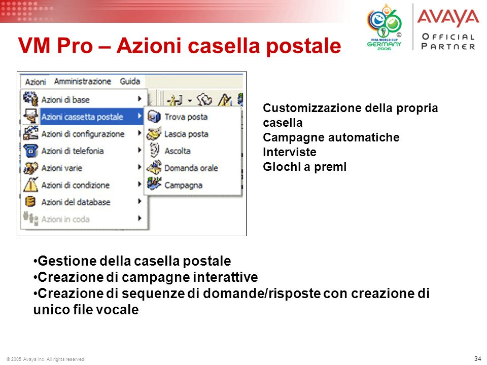 33 © 2005 Avaya Inc. All rights reserved. VM Pro Wave editor Registrazione messaggi tramite: Formato.wav da PC Multimediale Microtelefono