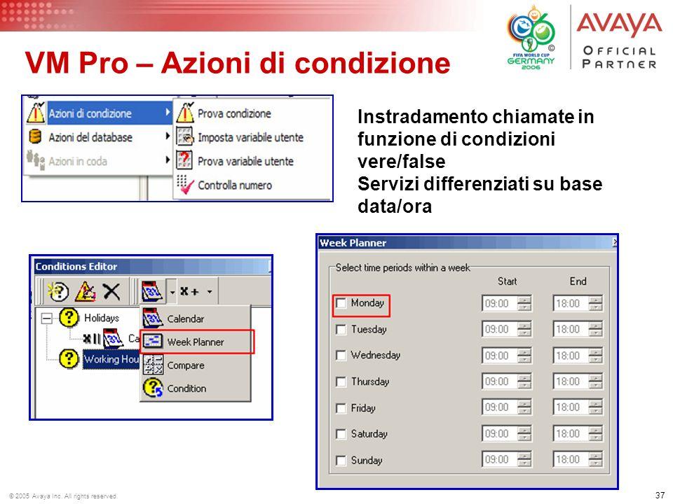 36 © 2005 Avaya Inc. All rights reserved. VM Pro Azioni varie Invio registrazione via Email a destinazione definita Gestione apriporta (max 2) con apr