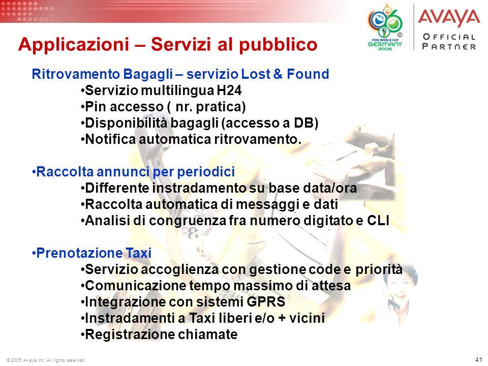 40 © 2005 Avaya Inc. All rights reserved. Servizio Book Shop Acquisto Accesso DB In codice