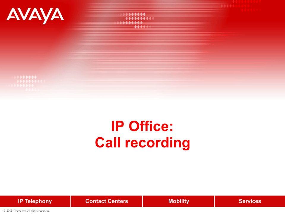 46 © 2005 Avaya Inc. All rights reserved. IP Office Supporto FAX-scenario 1.Chiamata fax indirizzata allutente 2.instradamento a VM PRO che rileva il