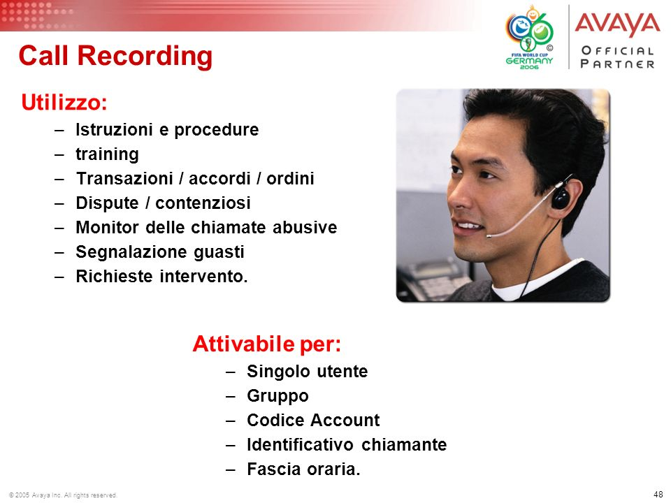 © 2005 Avaya Inc. All rights reserved. IP Office: Call recording