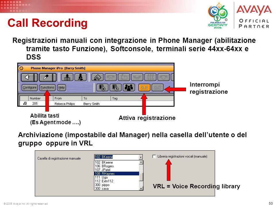 49 © 2005 Avaya Inc. All rights reserved. Call Recording Registrazione delle conversazioni con VM Pro 1.Registrazioni manuali - tramite codice o trami