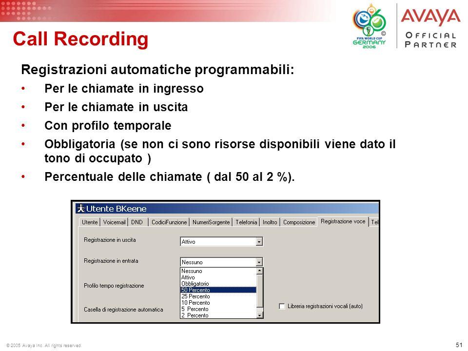 50 © 2005 Avaya Inc. All rights reserved. Call Recording Registrazioni manuali con integrazione in Phone Manager (abilitazione tramite tasto Funzione)
