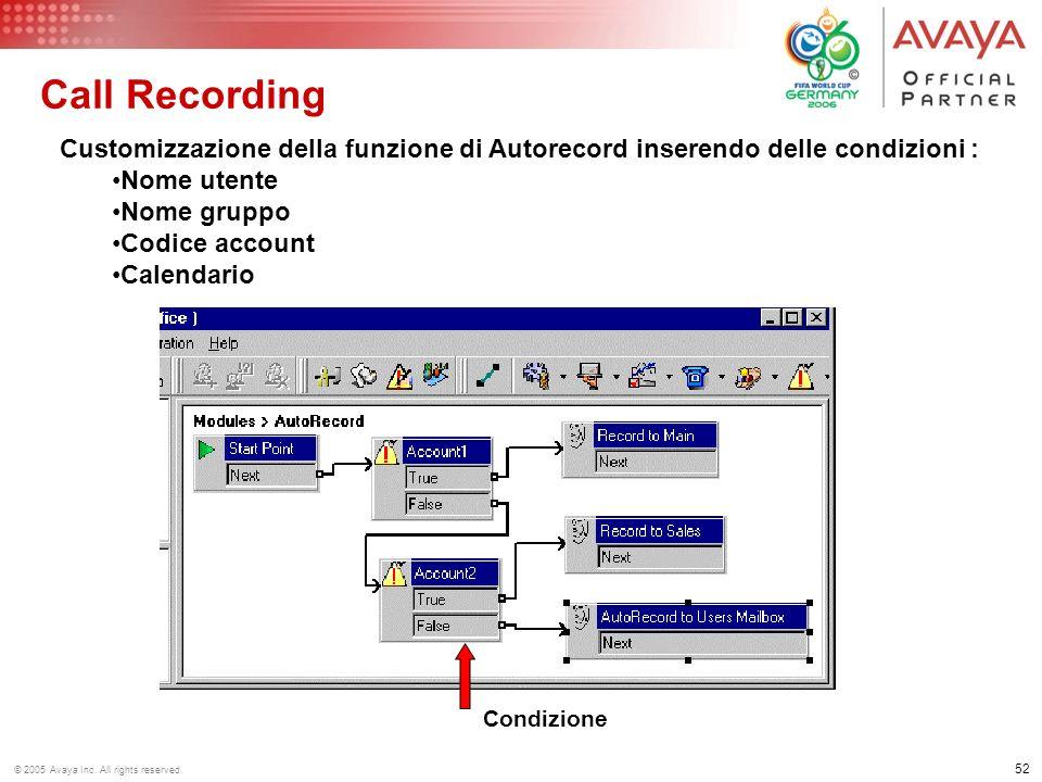 51 © 2005 Avaya Inc. All rights reserved. Call Recording Registrazioni automatiche programmabili: Per le chiamate in ingresso Per le chiamate in uscit
