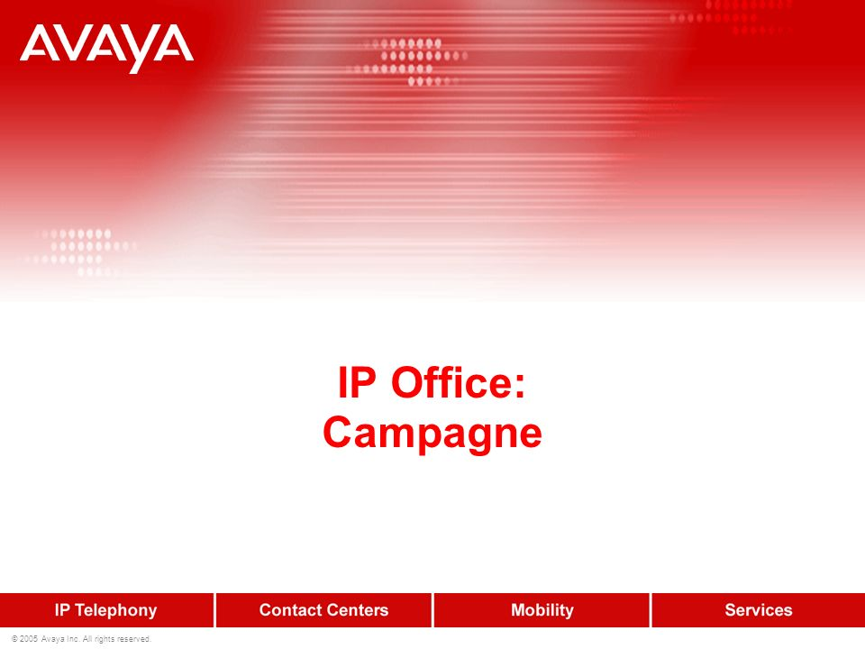 61 © 2005 Avaya Inc. All rights reserved. Power Conferencing Web interface Il supervisore può modificare lo stato dei partecipanti ( solo ascolto,o as