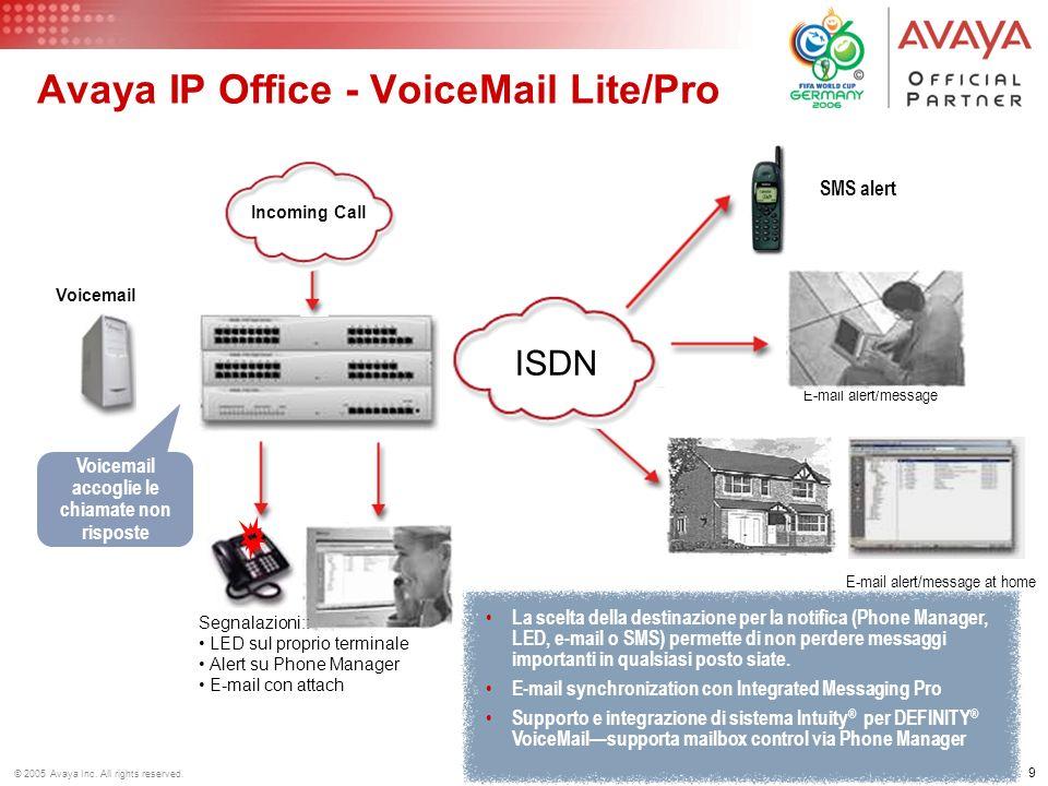 8 © 2005 Avaya Inc. All rights reserved. Servizi Voice Mail Registrare/modificare messaggi di benvenuto personalizzati e multilingua Permettere allint
