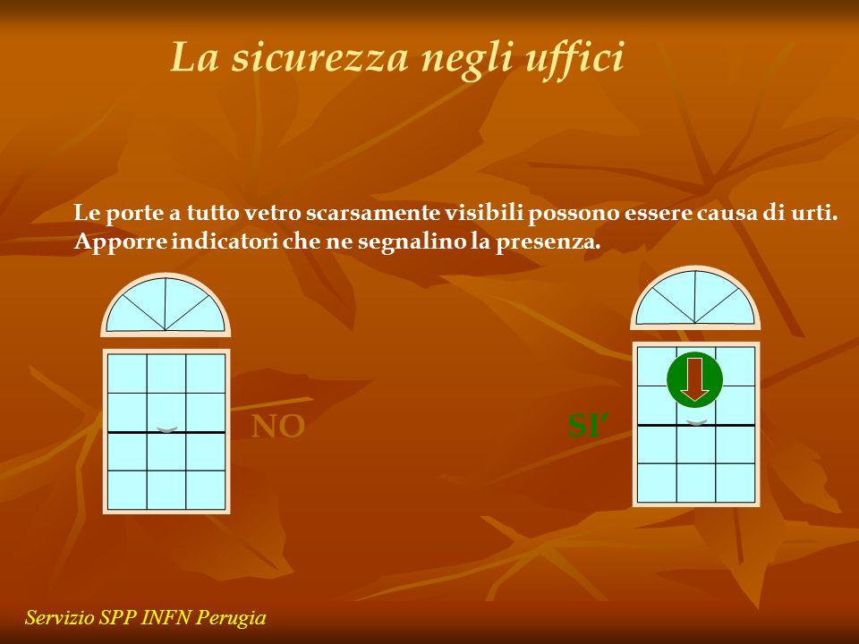 Le porte a tutto vetro scarsamente visibili possono essere causa di urti. Apporre indicatori che ne segnalino la presenza. NO SI La sicurezza negli uf