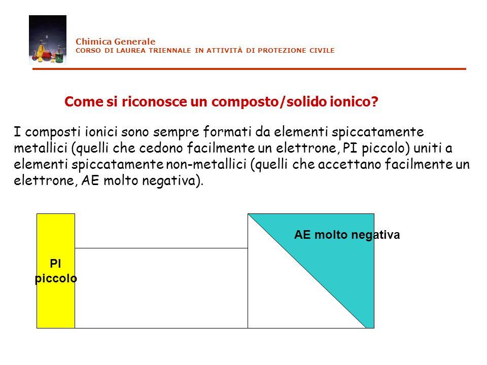 Come si riconosce un composto/solido ionico? I composti ionici sono sempre formati da elementi spiccatamente metallici (quelli che cedono facilmente u