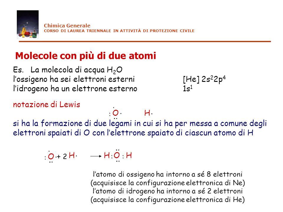 Es. La molecola di acqua H 2 O lossigeno ha sei elettroni esterni[He] 2s 2 2p 4 lidrogeno ha un elettrone esterno1s 1 notazione di Lewis si ha la form