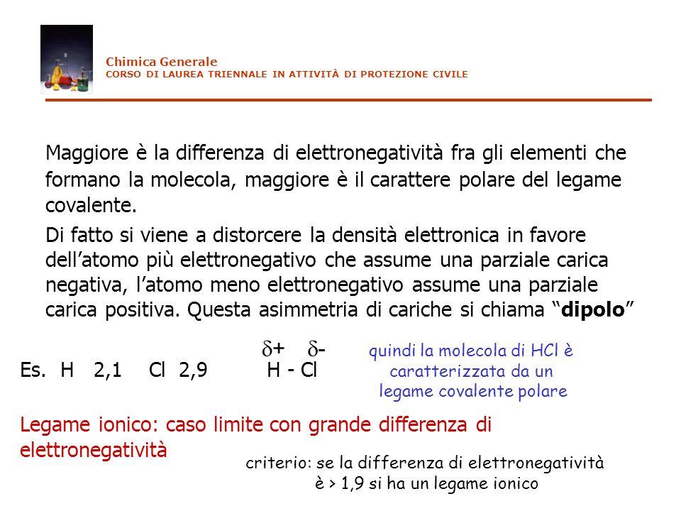 Maggiore è la differenza di elettronegatività fra gli elementi che formano la molecola, maggiore è il carattere polare del legame covalente. Di fatto