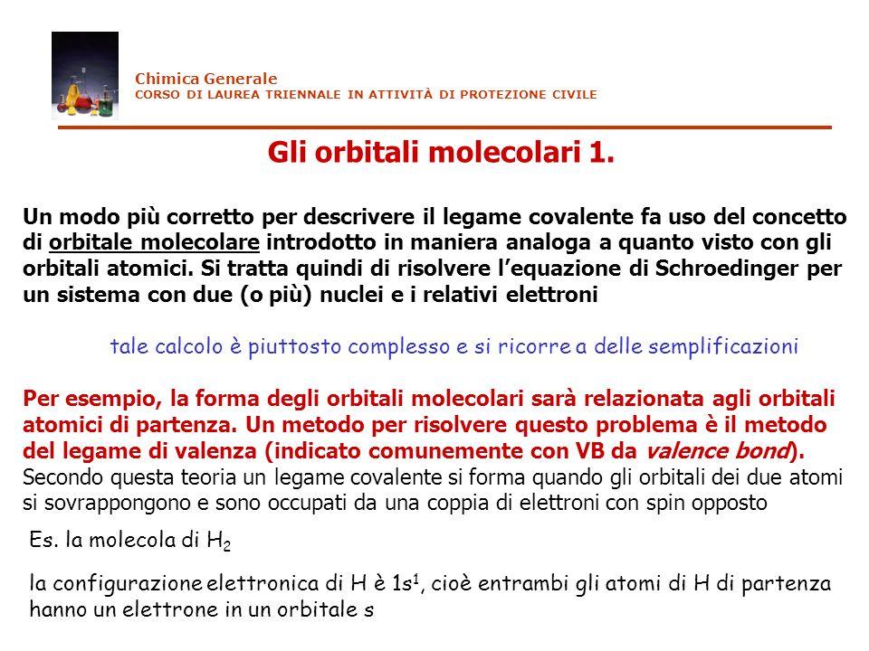 Gli orbitali molecolari 1. Un modo più corretto per descrivere il legame covalente fa uso del concetto di orbitale molecolare introdotto in maniera an