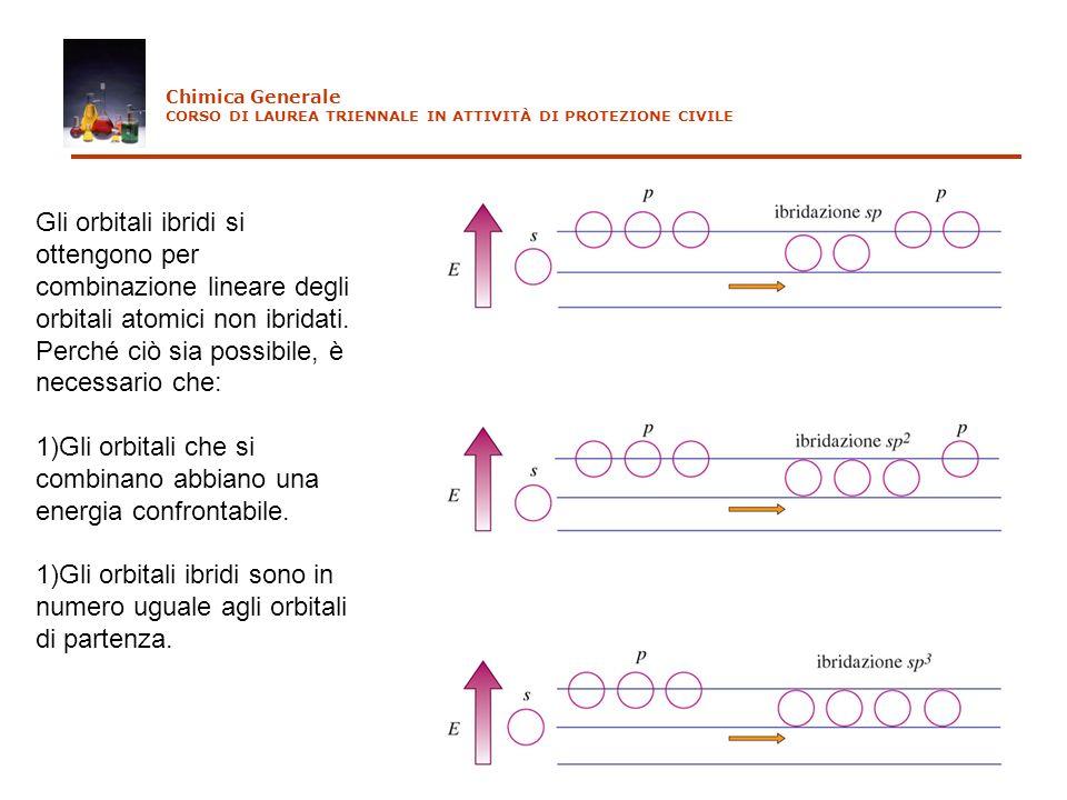 Chimica Generale CORSO DI LAUREA TRIENNALE IN ATTIVITÀ DI PROTEZIONE CIVILE Gli orbitali ibridi si ottengono per combinazione lineare degli orbitali a