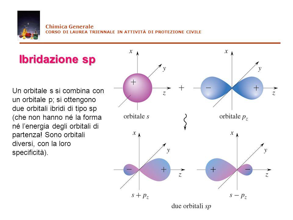 Chimica Generale CORSO DI LAUREA TRIENNALE IN ATTIVITÀ DI PROTEZIONE CIVILE Ibridazione sp Un orbitale s si combina con un orbitale p; si ottengono du