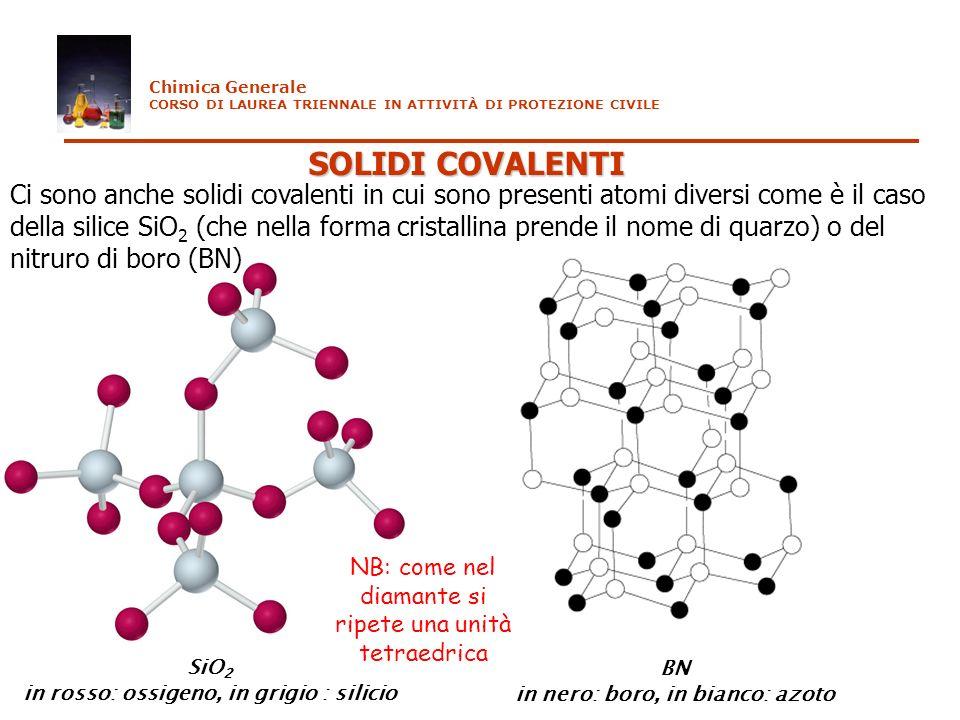 SOLIDI COVALENTI Chimica Generale CORSO DI LAUREA TRIENNALE IN ATTIVITÀ DI PROTEZIONE CIVILE Ci sono anche solidi covalenti in cui sono presenti atomi