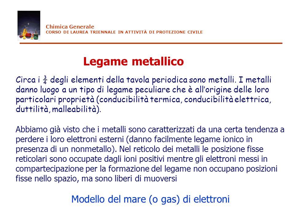 Legame metallico Circa i ¾ degli elementi della tavola periodica sono metalli. I metalli danno luogo a un tipo di legame peculiare che è allorigine de